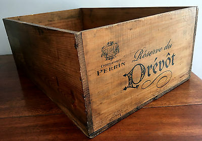 Vintage French Salvage DOMAINE PERRIN PREVOT Pine 12 bottle Wine Crate Store Box