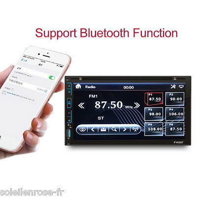 "6.95"" HD 2 DIN BT MP3 Player Reproductor de Coche FM/AUX-IN/USB/SD/USB/DVD/AM ES"