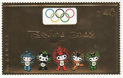 Gambia 2008 Beijing Olympics Gold Stamp