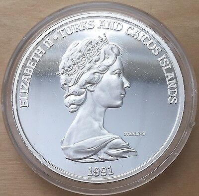 1991 500th Anniversary of Columbus Turks & Caicos Silver Half Dollar Coin