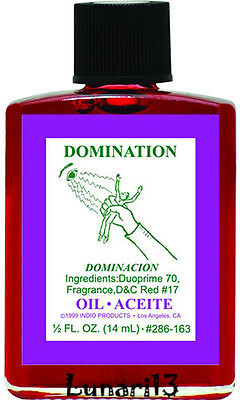 Domination, Dominacion, Oil, Indio Products, 1/2 oz, Lunari13, Wicca, Santeria