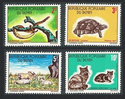 Benin Snake Turtle Cat Reptiles and Domestic Animals 4v SG#650/53