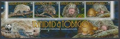Trinidad and Tobago WWF Brazilian Porcupine Bottom Strip of 4v with WWF Logo