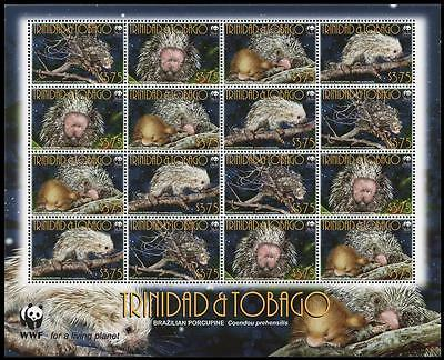 Trinidad and Tobago WWF Brazilian Porcupine Sheetlet of 4 sets SC#840a-d