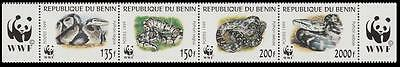 Benin WWF Pythons Strip of 4v SG#1812/15 SC#1086 a-d MI#1159-62 CV£10+