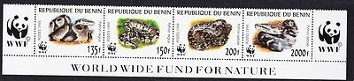 Benin WWF Pythons Bottom Strip with WWF Logo SG#1812/15 SC#1086 a-d MI#1159-62