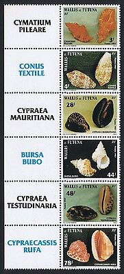 Wallis and Futuna Sea Shells strip of 6v issue 1987 with Latin Names SG#510/15