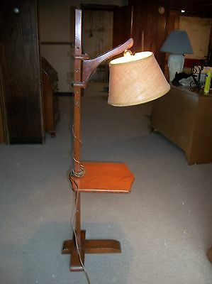 Antique Rock Maple Floor Lamp with attached Table