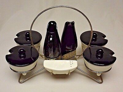 Mid Century Vintage Shawnee Kenwood 13 Pc. Saucy Susan Condiment Set and Caddy