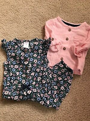 Carter's Baby Girls Romper With Cardigan Outfit Size 3 Months