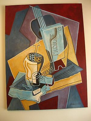 The Music Book Painting Homage to Juan Gris by Jean Breton 36x48