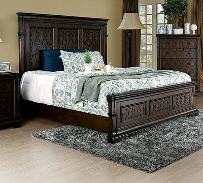 Queen Cal King Est King Bedroom 1pc Bed Tall Panel Decorative HB FB Wood Inlay