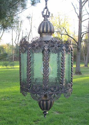Shabby Vintage Hollywood Regency Bohemian Stained Sea Glass Chandelier Light