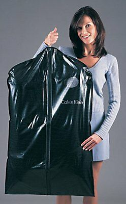 "LOT OF 6 - Garment Bags Black Vinyl 40"" Long for Suits- 6 Pieces"