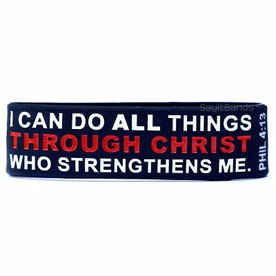 I can do all things through Christ who strengthens me. Phil 4:13 Cross Wristband