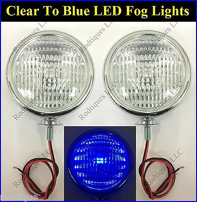 """LED Clear to Blue Chrome 5"""" Lights Fog Driving Accent Parking Universal Ford"""