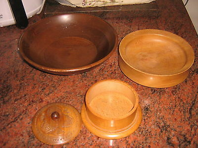 3 Items Treen  Hand Crafted Wooden Bowls & A Lidded Hand Carved Box