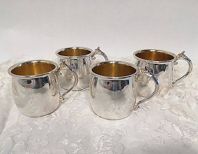 Vintage Towle Silverplate Punch Cup Set Of 4, Moscow Mule Mug Style