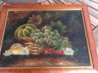 """Original Signed Fruits Still Life Oil Painting on Board - Framed 18"""" By 22.5"""""""
