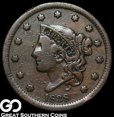 1838 Large Cent, Coronet Head ** Free Shipping!
