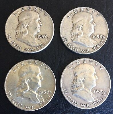 Lot of 4 Franklin 90% Silver Half Dollar 1957 1958 1959 1960 Circulated Coins