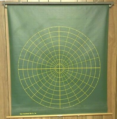 Vintage Geyer Green Slated Pull Down School Map Math Chart Round & Square #7