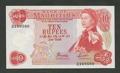 MAURITIUS - 10 Rs  1967  QEII  P31b  Uncirculated  ( Banknotes )