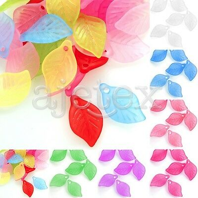 69pcs Acrylic Leaf Beads Spacers Jelly-like Jewellery Making Crafts 18x11x3mm