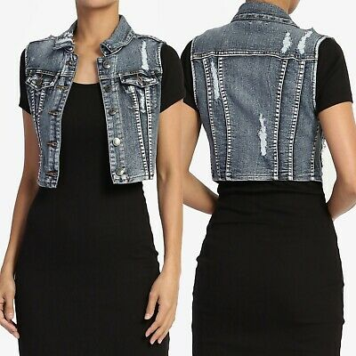e9284611bdb58 TheMogan Women s Vintage Trucker Classic Washed Denim Vest Slim Crop  Waistcoat