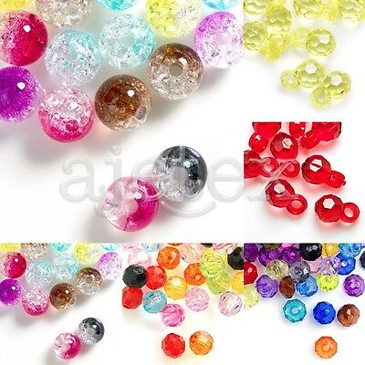 Acrylic Beads Round Transparent Faceted Jewellery Craft 13x8x8mm/8x8x5mm/8x8x8mm