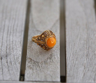 Antique Chinese Export Silver Vermeil Filigree Amber Ring