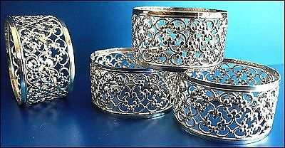 Silver Napkin Rings Set of 4 See description FREE MAINLAND P&P STUDY PHOTOS!