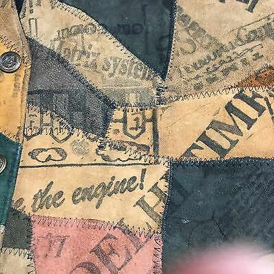 Vintage Leather UNIQUE Patchwork News Vest NYC AJNY hippie Artsy Stamped RETRO