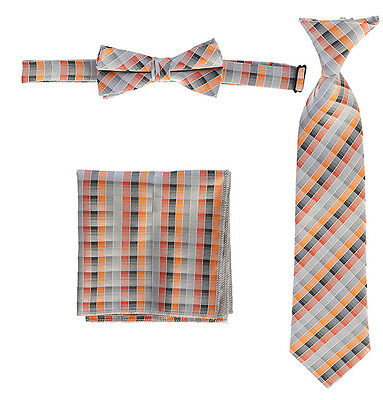 Boys Tie Plaid Children Kids Girl Neck Tie Bow Tie Pocket Square Accessories Nwt