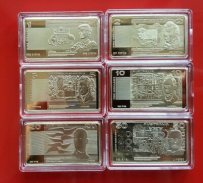 Lot of 6 Australian OLD NOTE 1oz .999 Gold Plated Bars/Ingots
