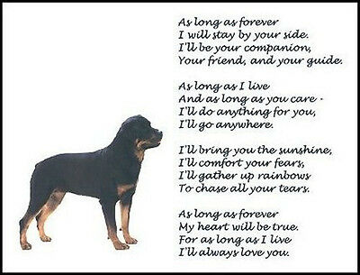 "Beautiful ROTTWEILER print ""AS LONG AS FOREVER.."" verse poem dog pet NEW!"