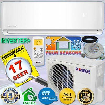 PIONEER 9000 BTU 17 SEER Inverter+ Ductless Mini Split Heat Pump, 230V, 10' Kit