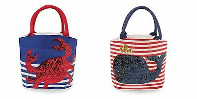 Mud Pie MK7 Baby Toddler Girl Dazzle Jute Crab or Whale Sequin Tote Bag 1562057