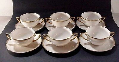 Rosenthal Porcelain: Set Of Six Cream Soup Bowls W Saucers Double Gold Trim Aida