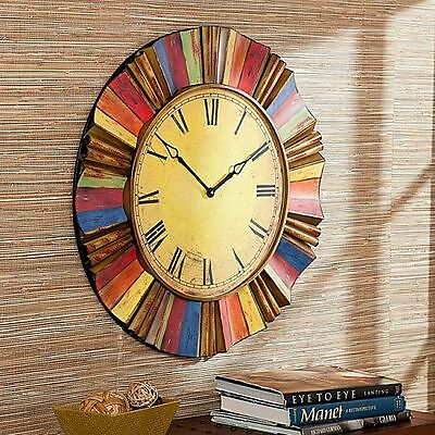 LARGE WALL CLOCK Vintage Style Round Antiqued Metal Side Oversized ...