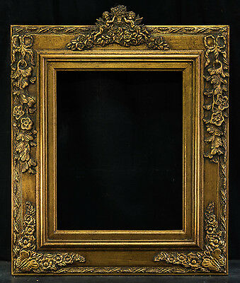 """Antique Reproduction Vertical Gold Frame 16"""" x 20"""", 5 1/4"""" Wide, 1 1/2"""" Thick"""