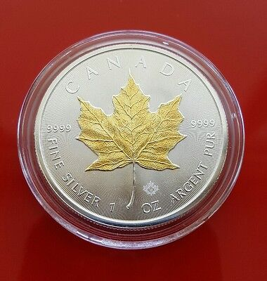 2015 Gilded Canadian Maple Leaf .999 Silver 1oz Coin