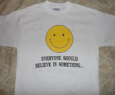 BELIEVE IN ANOTHER BEER, 90's OLD SCHOOL FUNNY COLLEGE SHIRT VINTAGE, (XL) NEW