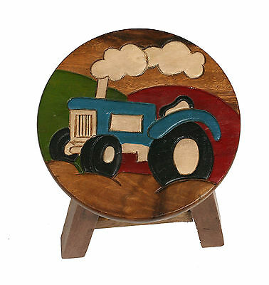 Childs/Childrens/Kids Wooden Stool - Blue Tractor