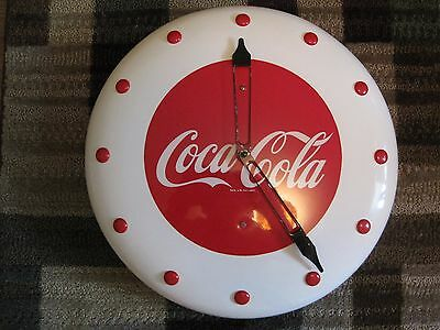 "Art Deco button style Coca Cola Clock ""WORKS"" 1940's / 1950's"
