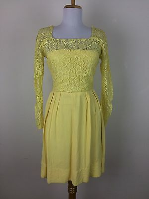 Vintage 1950s Dress Yellow Lace Rayon Sparkle Party Prom Dance Size XS S