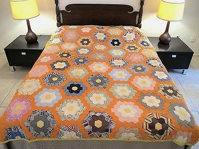 Vintage Antique Hand Sewn Feed Sack FLOWER GARDEN QUILT, Beautiful Colors; FULL