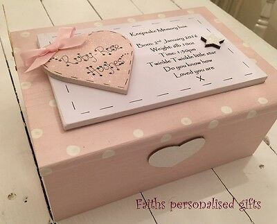 **baby Girl/boy Personalised Keepsake Memory Wooden Box**blue**pink**