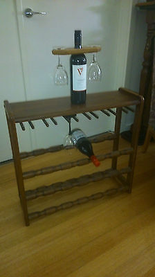Small Timber Wine Rack With Wine Glass Hangers