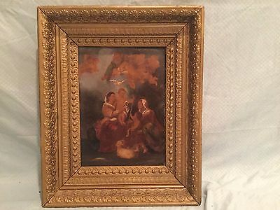 Antique 19th C. Religious Allegorical Oil on Board Painting